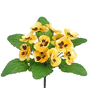 "10"" Silk Pansy Flower Bush -Yellow (Pack of 36) 16"