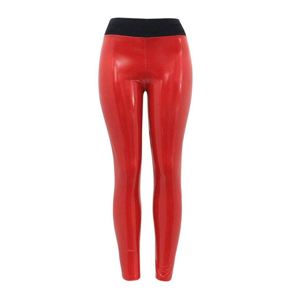 Nevera Women's Yoga Pants Shiny High Waist Flex Capris Workout Leggings for Fitness Running Red