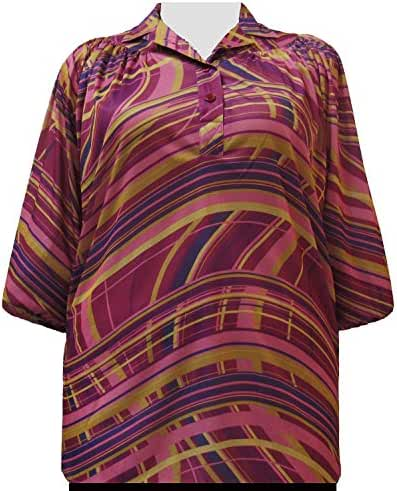 A Personal Touch Check Swirl 3/4 Sleeve Pullover Women's Plus Size Top