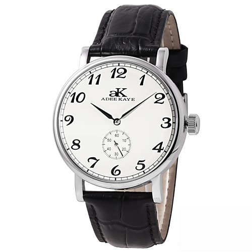 Adee Kaye Mens Vintage Mechanical Collection Seagull 20 Jewel Mechanical Silver Tone White Band White ()