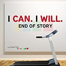 I CAN I WILL END OF STORY A1 Black - Red Home and Gym Motivate Wall Decal