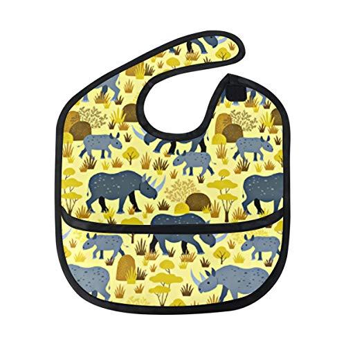 Endangered Rhino Yellow Desert Baby Bibs Waterproof,Washable,Baby Teething Bib 6-24 Months ()
