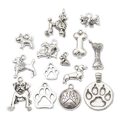 - 28pcs Mixed Tibetan Silver Plated Animals Dogs Charms Pendants Jewelry Making DIY Charm Handmade Crafts(Dog Charms)