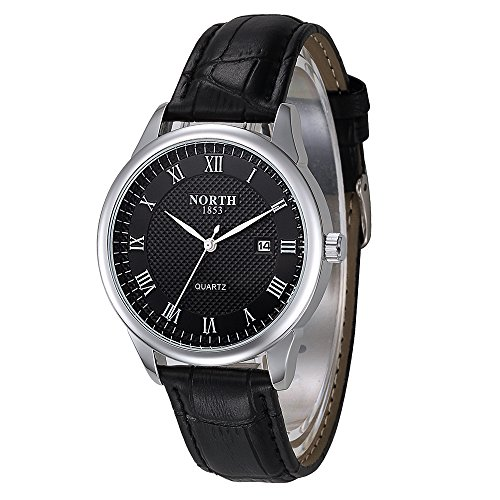 Men Watches,30M Waterproof Business Quartz Analog Wrist Watch,Calendar Genuine Leather Band Black