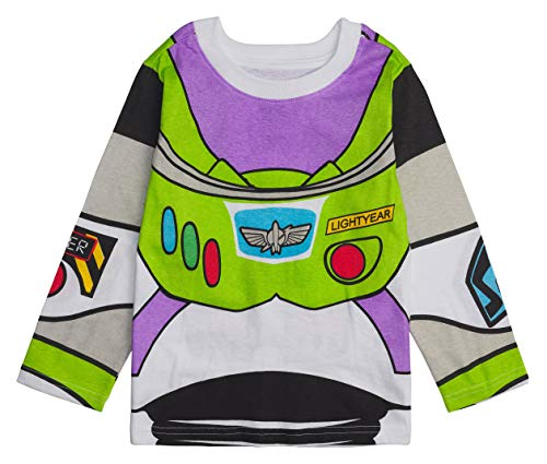 Buzz Lightyear Tee - Disney Toy Story Long- Sleeve Costume T- Shirt -Buzz Lightyear, Woody - Boys (Buzz Lightyear, 4T)