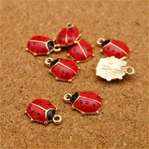 (Pasona- Charms - Wholesale 10PCS DIY Jewelry Gold Tone Red Enameled Ladybug Alloy Charms Bracelet Necklace Pendants Jewelry Accessories 119mm - by Pasona - 1 PCs)