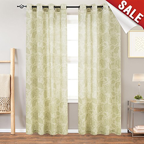 Floral Scroll Printed Linen Curtains Grommet Top - Ikat Flax Textured Medallion Design Jacobean Floral Curtains Retro Bedroom Window Treatments 84 Inches Length (Sage, 1 (Paisley Window)