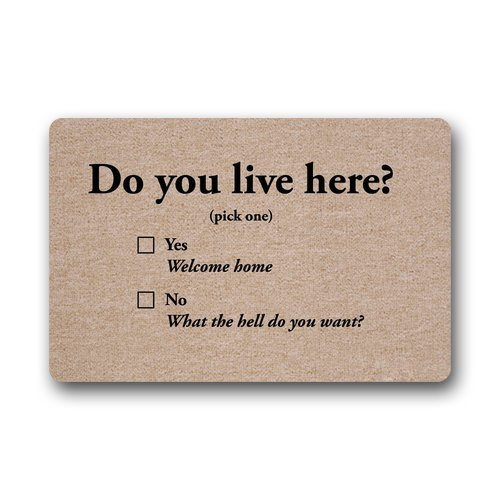 [Custom Machine-washable Door Mat Do you Live Here Indoor/Outdoor Doormat 30(L) x 18(W) Inch] (Live Here Door Mat)