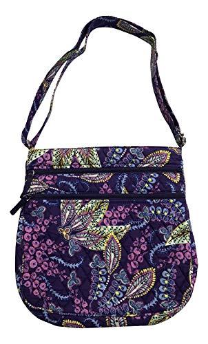 Vera Bradley Triple Zip Hipster Cross-body Bag with Updated Solid Interiors (Batik Leaves)