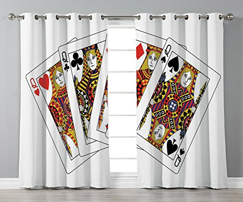 Satin Grommet Window Curtains,Queen,Queens Poker Set Faces Hearts and Spades Gambling Theme Symbols Playing Cards,Black Red Yellow,2 Panel Set Window Drapes,for Living Room Bedroom Kitchen Cafe