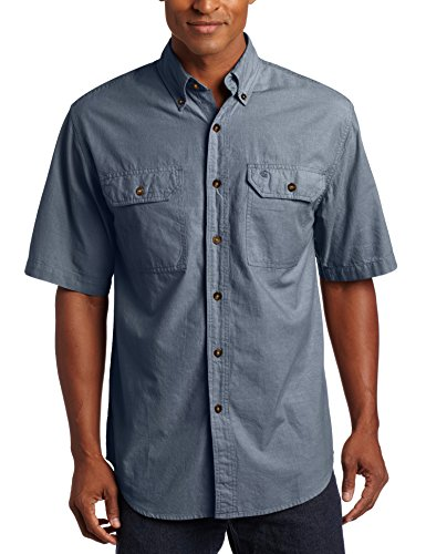 Carhartt Men's Fort Short Sleeve Shirt Lightweight Chambray Button Front,Denim Blue - Cotton Short Sleeve Denim Shirt