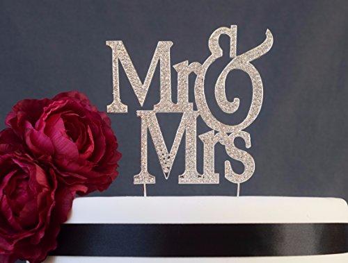 Mr and Mrs Cake Topper - Premium Crystal Rhinestone Gems - Wedding Anniversary Bridal Shower Bachelorette Party or Vow Renewal - Perfect Keepsake (Mr&Mrs Non-Script Silver)