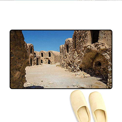 Door-mat,One of Abandoned Sets of The Movie in The Desert Phantom Menace Antique Cave Houses,Bath Mats for Floors,Brown Blue,Size:32