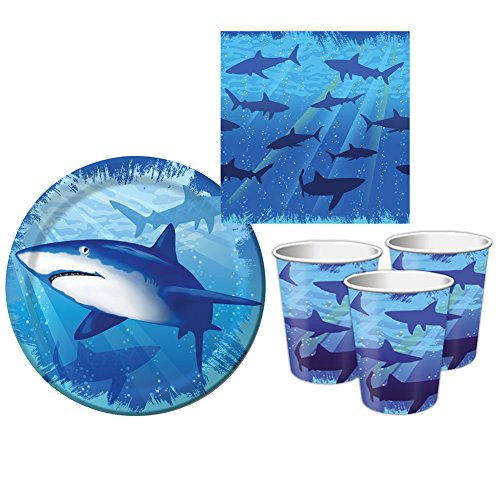 Shark Splash Tableware Party Supplies Pack Bundle For 8 Guests | Includes 8 Paper Dessert Plates, 16 Paper Dessert Beverage Napkins, 8 Paper Cups | Shark Party Supplies For Your Under The Sea Party!]()