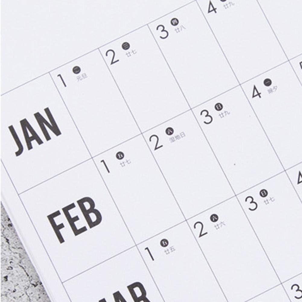 youngfate 2020 Calendario Planner Annuale Calendario da Parete in Poster Panoramica Annuale Panoramica delle Vacanze Giorni Lavorativi Contano 51,5 73 Cm