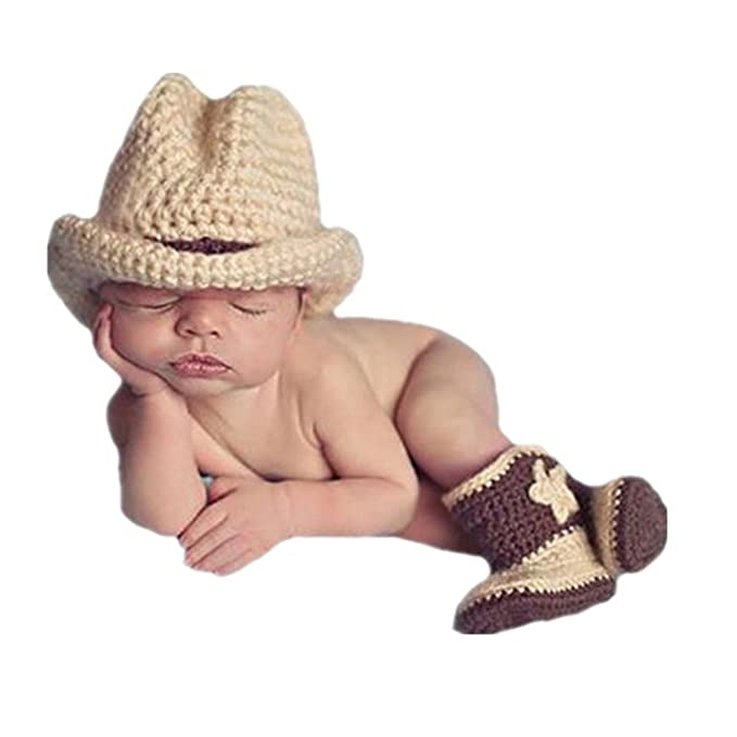 587612d96faa9a Image Unavailable. Image not available for. Color: Newborn Baby Photography  Prop Crochet Knitted Fringe Cowboy Style Boots& Hat