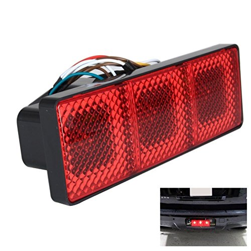Light-Up Rectangular Trailer Hitch Receiver Cover Brake Tail Turn Light 3-in-1- fits 2