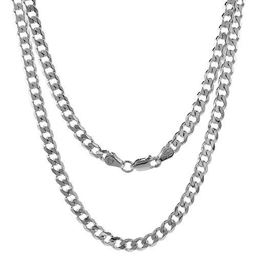 Sterling Silver Cuban Curb Link Chain Necklace 4.5mm Beveled Edges Nickel Free Italy, 18 inch (Free 18