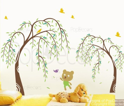 PopDecors - Willow and Bear- 68in H Brown and Greens - Beautiful Tree Wall Decals for Kids Rooms Teen Girls Boys Wallpaper Murals Sticker Wall Stickers Nursery Decor Nursery Decals PT-0070-Color ()
