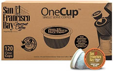 San Francisco Bay OneCup, Donut Shop, 120 Count- Single Serve Coffee, Compatible with Keurig K-cup Brewers