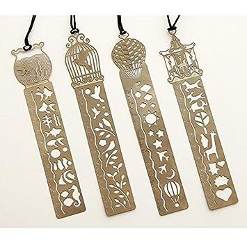 HYZ - Marcapáginas de metal hueco con básculas creativas multifunción para pintar el icono, Fish