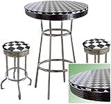 Cheap The Furniture Cove Checker Flag NASCAR Racing Glass Top Chrome Bar Table Set With 2 Swivel Bar Stools
