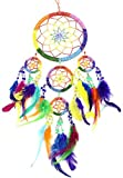 20″ Long Feather/Beaded Hanging Dream Catcher (Rainbow)