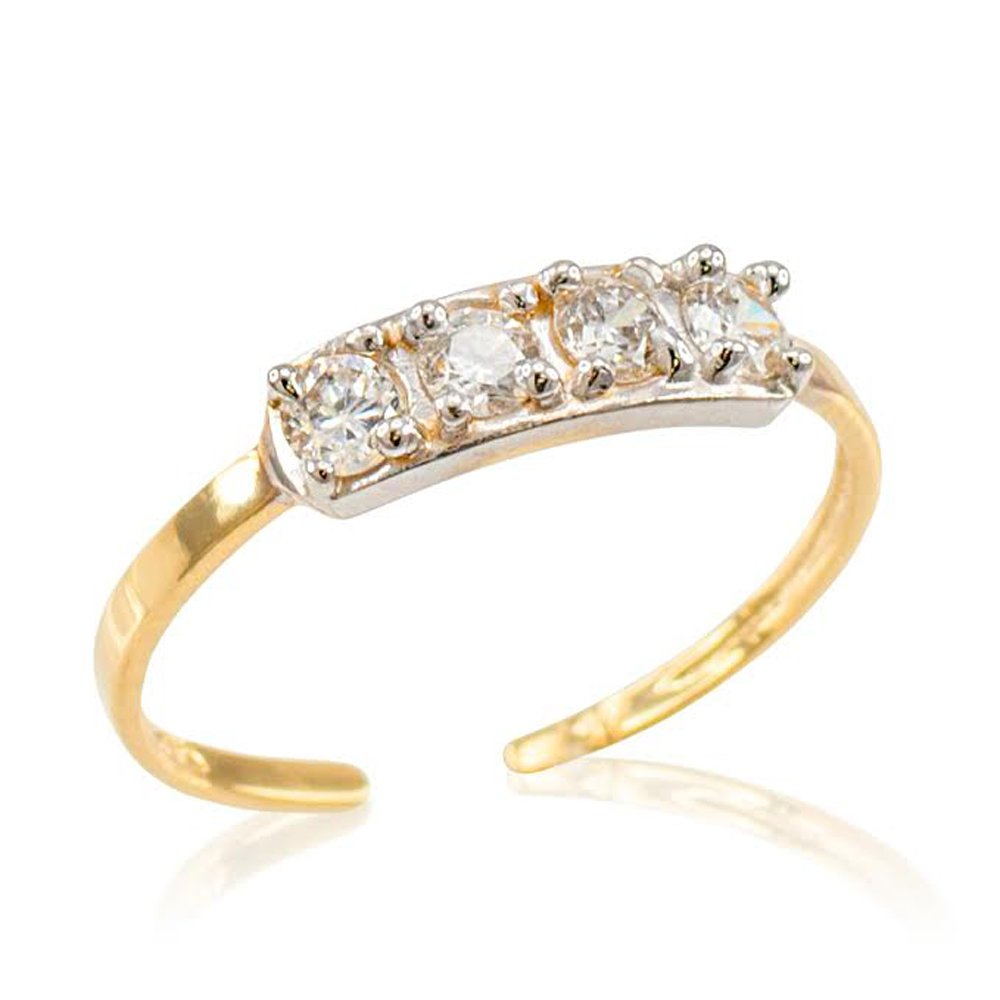 10k Yellow Gold 4-Stone Toe Ring by More Toe Rings
