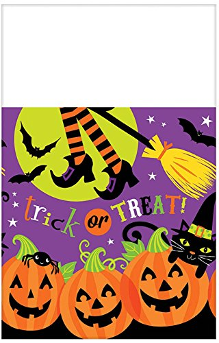 Witch's Halloween Trick Or Treat Crew Reusable Plastic Table Cover, 54