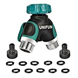 UNIFUN Hose Splitter, 2 Way Water Splitter, Metal Body with 10 Free Washers and 2 Free Nipples Garden Connector