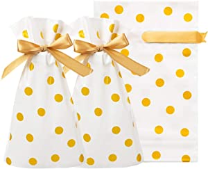 AWELL White Cellophane Bags 6.6x5.8 inch with String for Treat Candy Cookie Party Favor Bags, Gold Dots,Pack of 50