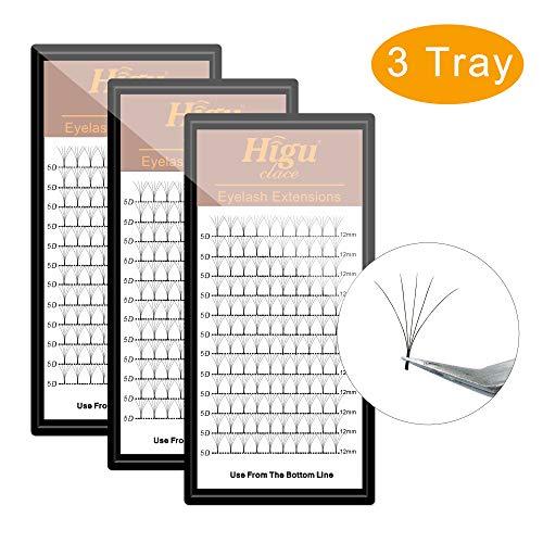 - 3 Tray 5D D Curl Volume Eyelash Extension 8mm+9mm+10mm Long Stem Fans| Optional C/D Curl 8-15mm Length |