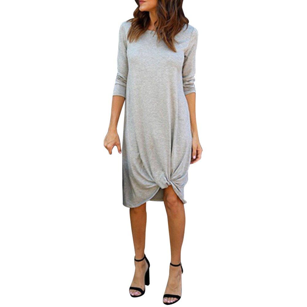 Solid Dresses For Women Knee Length, Maxi Three Quarter Casual Beach Long Maxi Dress Work Casual Gray S-XL