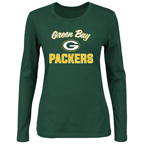 NFL Green Bay Packers Women L/S SCOOP NECK TEE, DK.GREEN, 2X
