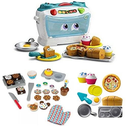 LeapFrog Number Lovin Oven With Sweet Treats Wooden Play Food Set (37 pcs), Pretend Play, Best Present for Kids, Gift Bundle, Set, Kid, Children Learning Toys