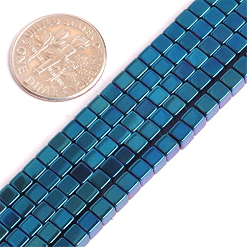 Hematite Beads for Jewelry Making Gemstone Semi Precious 3mm Cube Blue Metallic Coated 15