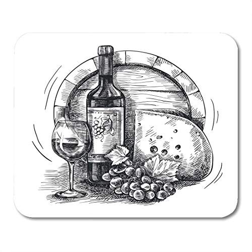 Semtomn Mouse Pad Green Sketch of Bottle Wine Grapevine and Cheese Mousepad 9.8