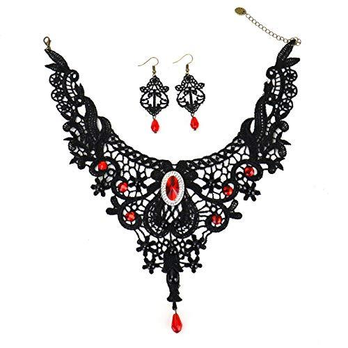 Lolita Jewelry (WSSROGY Black Lace Necklace Earrings Set Gothic Lolita Red Pendant Choker)