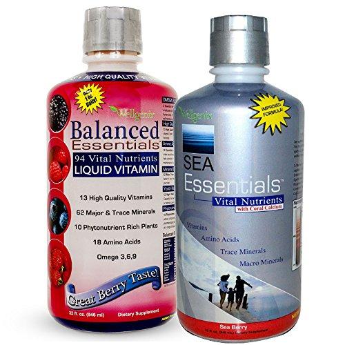 Wellgenix WGXBALSEA64B1 Balanced Essentials   Liquid   Multivitamins (1 X 32 oz) and Sea Essentials with Coral Calcium (1 x 32 oz), Berry Flavor (Pack of 2) by Wellgenix
