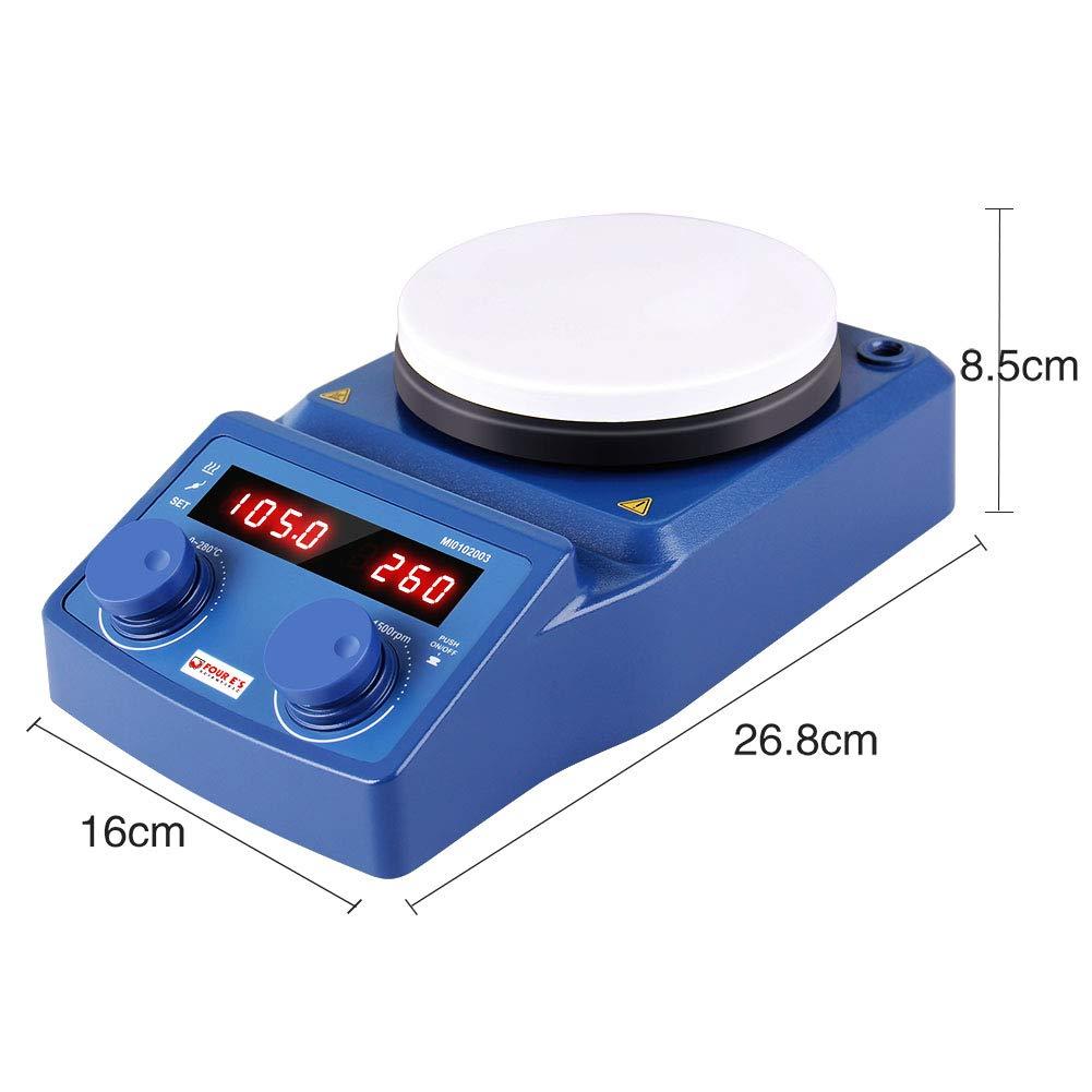LED Affichage Num/érique M/élangeur de Chauffage Magn/étique avec Barre Dagitation Laboratoire Agitateur Magn/étique Plaque Chauffante 5 Plaque Enduite de C/éramique 100-1500RPM