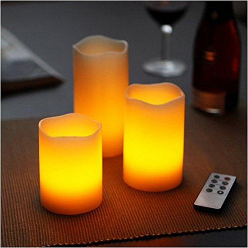 3 Real Wax Flameless Candles with Remote Control- Indoor and Outdoor Battery Operated Flickering LED Flameless Candles- Suitable for Weddings, Parties (Battery not Include)