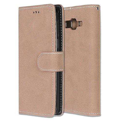 Galaxy Grand Prime Case, GNT Galaxy Grand Prime Wallet Case, Premium PU Leather Wallet Case [Card Slots] Flip Folio Cover for Samsung Galaxy Grand Prime G530(Beige) (Kitchen Grande)