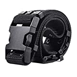 RockJay Tactical Military Mens Belts For Men Outdoor Army Belt Nylon Canvas Black 120cm