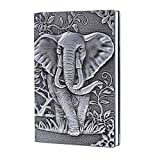 Leather Journal Writing Notebook - Antique Handmade Leather Daily Notepad Sketchbook, Elephant Gift For Men & Women, Travel Diary & Notebooks to Write in (Silver, A5)