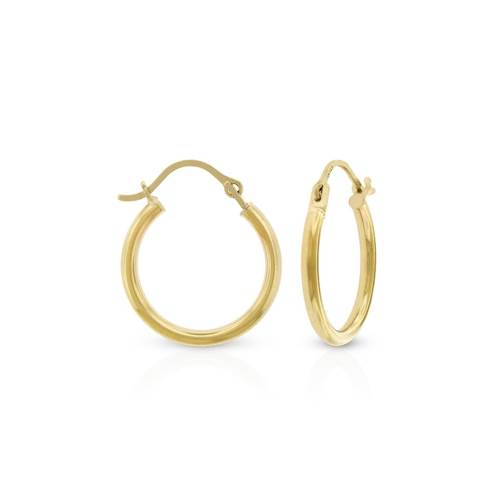 14k Yellow Gold Women's 2mm Thick High Polish Tube Hoop Earrings 14mm - 24mm (16mm)