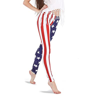 6b66a3929309 Alexandra Collection Women s Patriotic American Flag USA Athletic Workout  Leggings X-Small