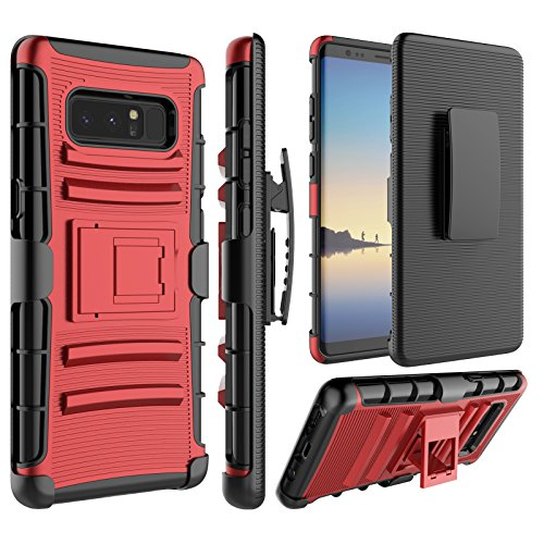 (Galaxy Note 8 Case, Samsung Note 8 Holsters Clips Case, Jeylly [Belt Clip] Built-in Kickstand Heavy Duty Full Body Shock Absorbing Hard Rugged Case Shield for Samsung Galaxy Note 8 N950 - Red)
