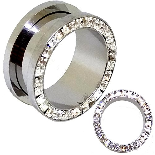 Clear Square CZ Studded Steel Tunnels Plugs Gauges Screw On Sold Pair - GA14S (1''=25mm) - Square Tunnel