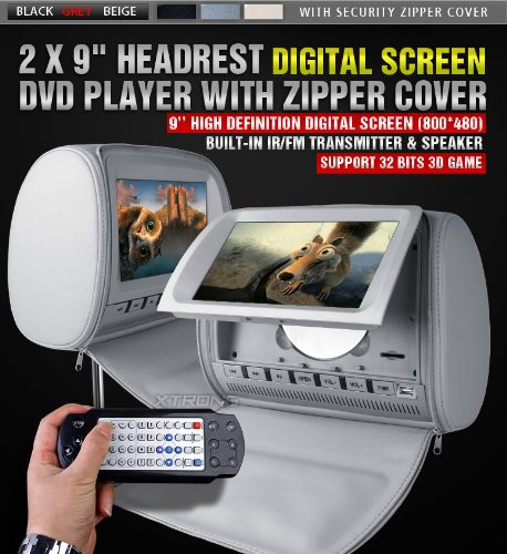 XTRONS Grey 2x Twin Car Headrest DVD Player 9″ HD Screen Sd Slot USB Game IR Headsets