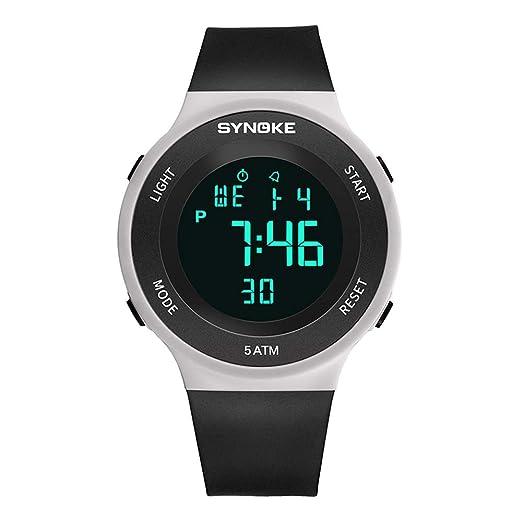 Relojes Pulsera Multifunción Calendario Mes Semana Alarma Digitale Relojes Hombre Correa de Silicona Deportivo Moderno, Negro-Blanco: Amazon.es: Relojes
